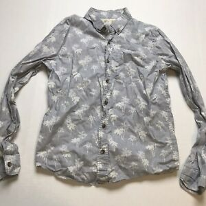 Hollister-Mens-Size-Small-Gray-Palm-Tree-Print-Button-Up-Shirt-A525