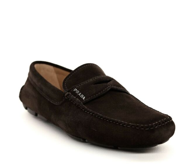 Prada Loafers Suede Slip On Brown Driver Size 7US NIB