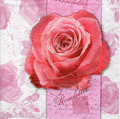 4 x Single PAPER NAPKINS Roseletter Rose Floral DECOUPAGE or CRAFTS