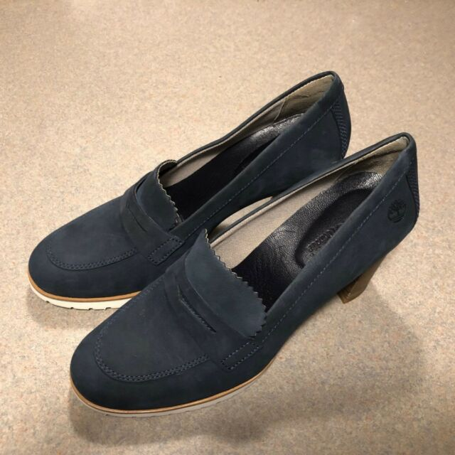 6cf4cd77e91 Timberland Leslie Anne Moccasin Dark Blue Women s PUMPS Shoes Size ...