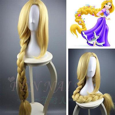 Anime Halloween Cosplay Wig Tangled Rapunzel Costume long blonde lady Wigs 120CM