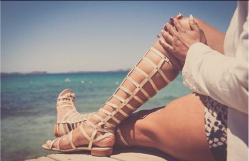 Stuart Weitzman Light Gold Leather & Stretch Gladiator Women Boots Sandals 8 W by Stuart Weitzman