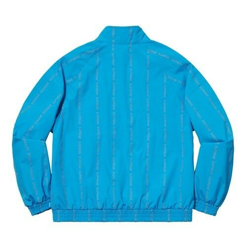SUPREME Reflective Text Track Jacket / Blue / Medium M / FW18 -- 100% AUTHENTIC