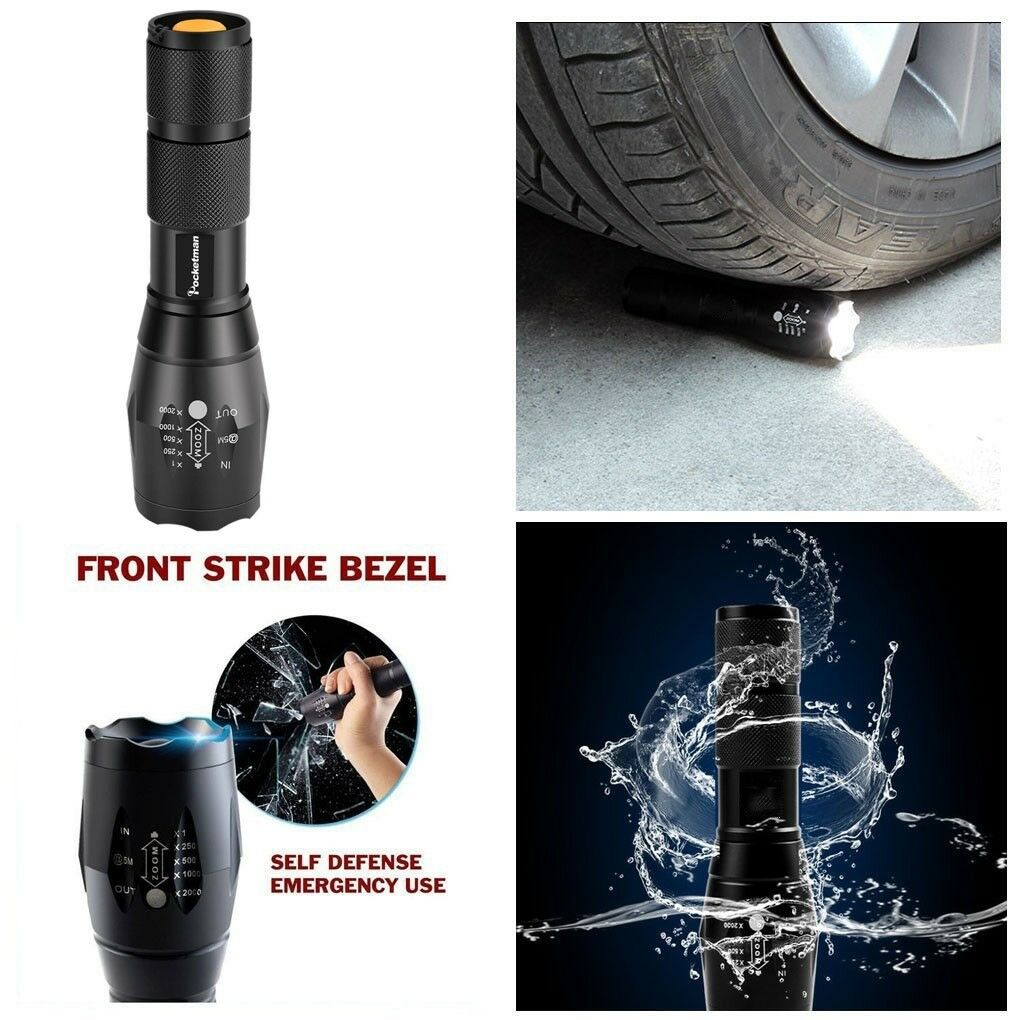 T6 Tactical Military LED Flashlight Torch 50000LM Zoomable 5-Mode for 18650 7