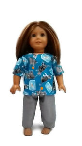 """Scrubs fits American Girl 18"""" Doll Clothes .Cats with Fish Bowl Print"""