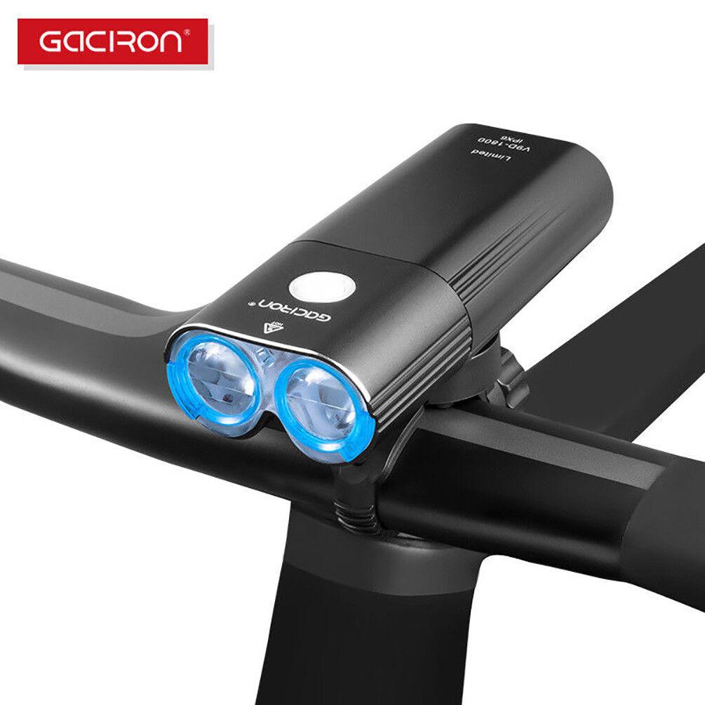 GACIRON USB Rechargeable Cycling Front Handlebar Light 1800 Lumens Headlight