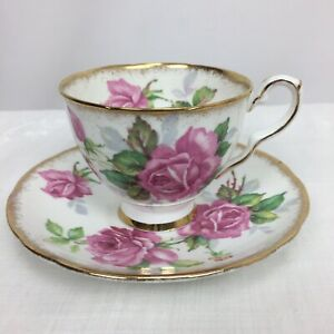 Vintage-Royal-Stafford-England-Berkeley-Rose-Bone-China-Footed-Tea-Cup-amp-Saucer