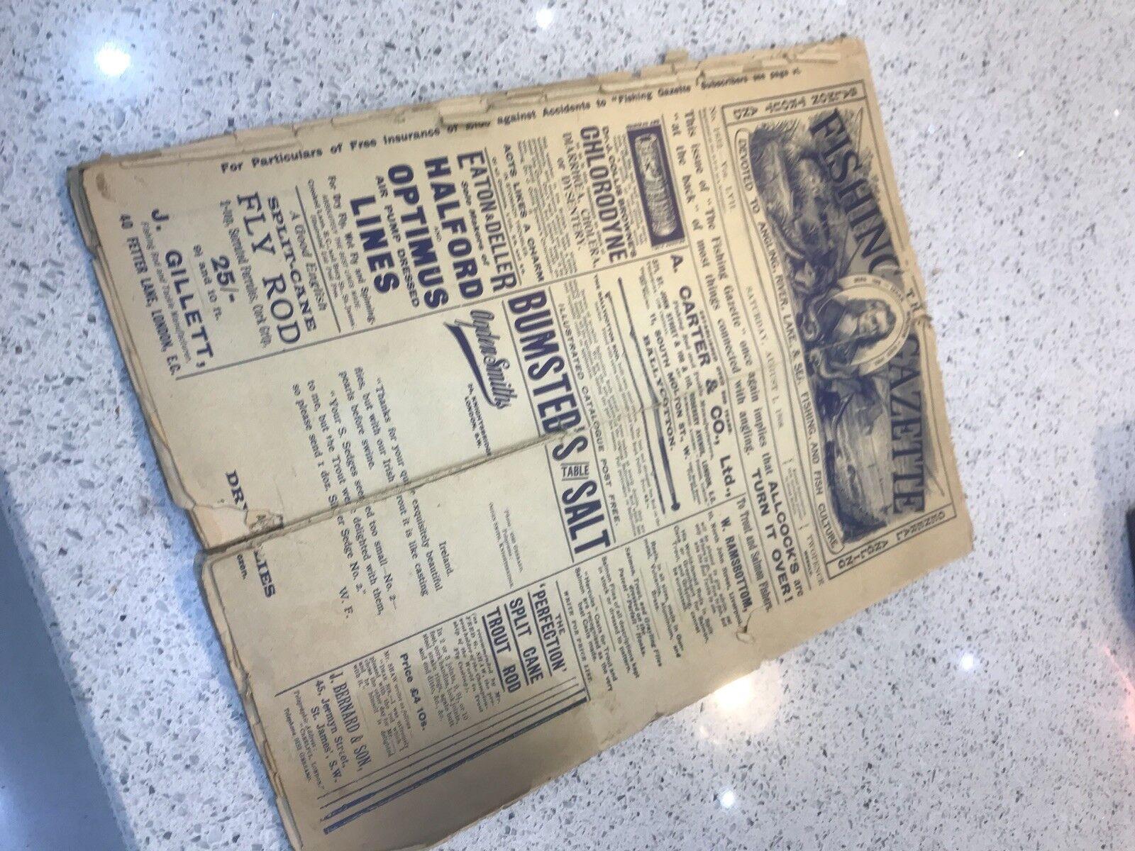 Original 1908 copia de la Gaceta de pesca