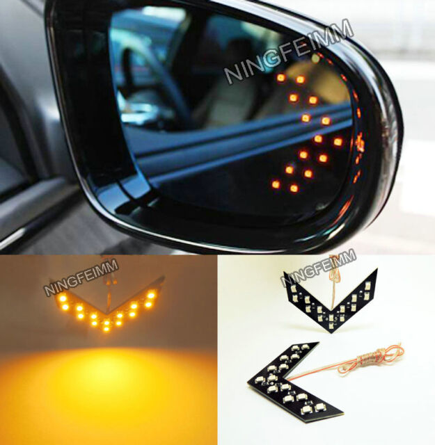 2x Amber 14SMD LED Arrow Panel Rear View Mirror Turn Signal Indicator Light D