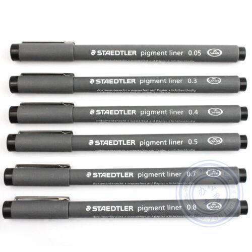 6 X Staedtler Pigment Liner Fineliner Zeichnen Stifte - 0.05mm To 0.8mm