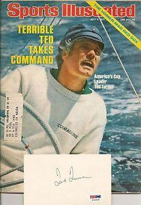 Ted Turner Signed 3x5 Index Card & Sports Illustrated Magazine PSA/DNA COA Auto
