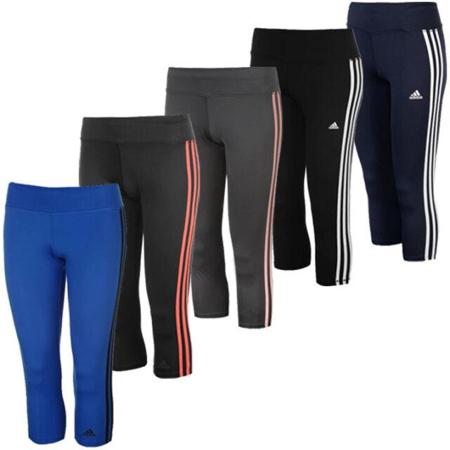 Adidas Climalite 3 Streifen Damen 34 Tight Sporthose Caprihose CE2048 neu