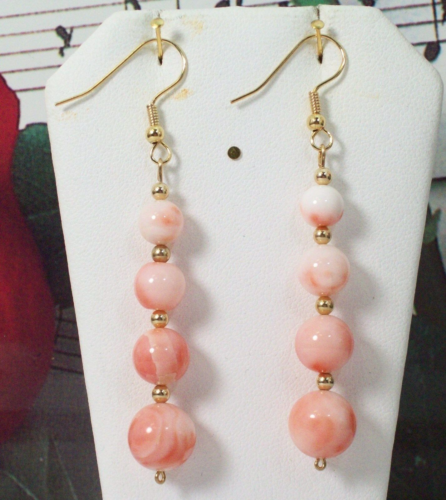 Carved Coral With 14K gold Filled Earrings. Natural Pacific Coral. CORE004