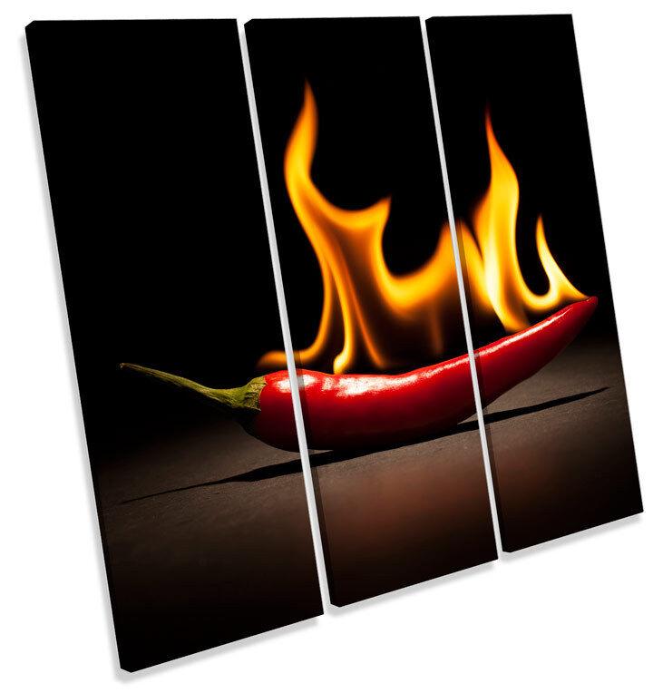 rojo  Hot Chilli Cocina llameante LONA LONA llameante pa rojo  arte Foto impresión Cuadrado agudos 38e47a
