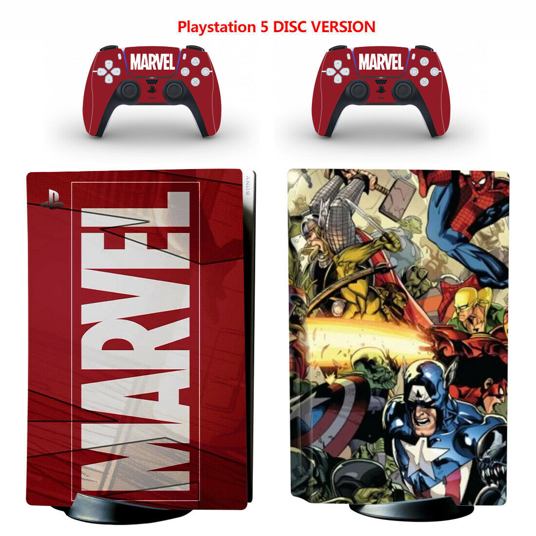 Marvel's The Avengers Vinyl Skin Sticker for PS5 Console Controller Disc Version