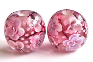 10pcs-handmade-Lampwork-glass-beads-glass-pink-plum-flower-round-14mm