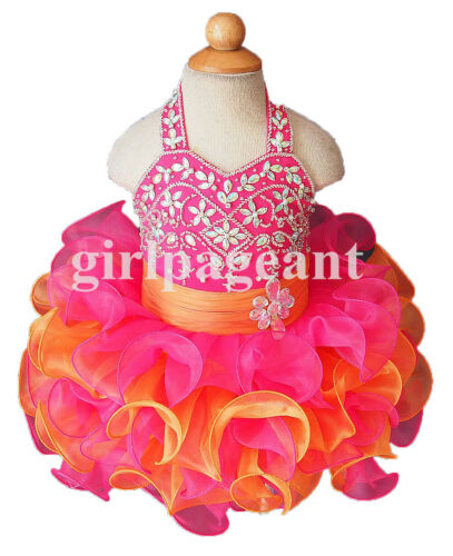 Infant//toddler//baby//children beading Pageant Dress073-2 with hairbow