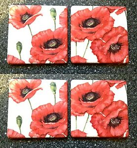 New Set Of 4 Vintage Ceramic Wall Tiles Red Poppies Poppy Field Kitchen Decor Ebay