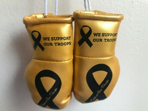 Mini Boxing Gloves We support our Troops Black Blue Golden Red Silver White