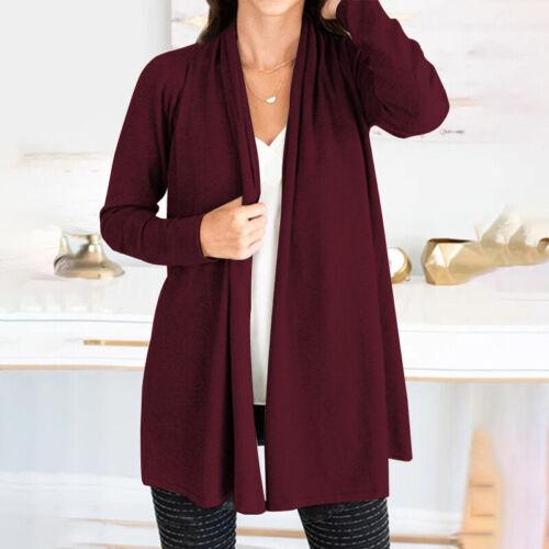 Womens Open Front Cardigan Long Sleeve Casual Coat Solid Plain Outwear Jacket