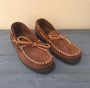 Minnetonka Men's Camp Moc Shoes Moccasins Dusty Brown Suede Leather Sz 7M EUC