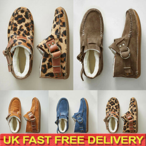 Womens Suede Snow Boots Ladies Fleece Fur Lined Ankle Boots Winter Flat Shoes UK