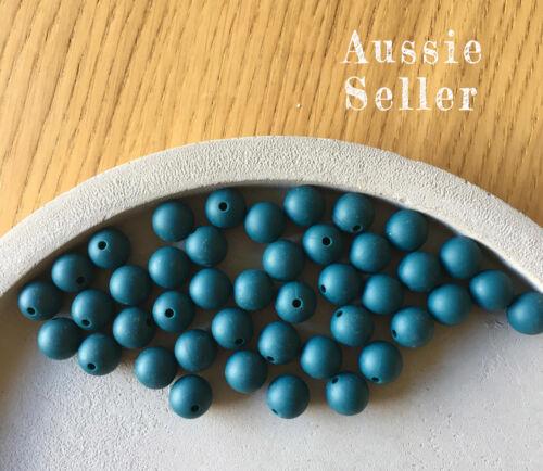 10 silicone DEEP TEAL 12mm beads round BPA free baby teeth safe nursing chew