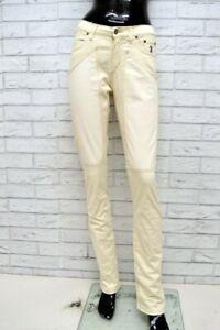 Pantalone-JECKERSON-Donna-Taglia-Size-28-Jeans-Pants-Woman-Cotone-Beige-Regular