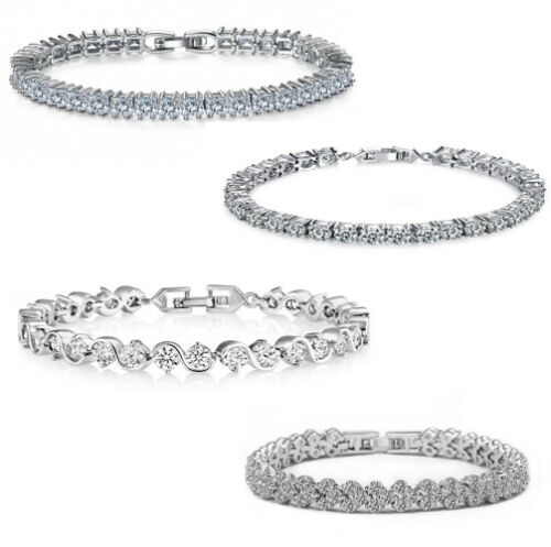 White gold plated wedding crystal tennis bracelets made with Cubic Zirconia