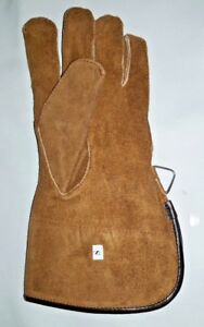 Falconry-Glove-Single-Layer-Small-Size-Suede-Leather-12-034-Long-Tan-Brown