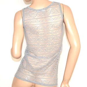 CANOTTA-GRIGIO-donna-strass-pizzo-ricamo-sexy-top-maglia-sottogiacca-elegante-A8