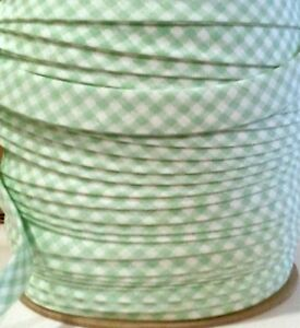 GREEN-amp-White-Gingham-BTY-1-2-034-Double-Fold-Bias-Tape-EXTRA-Wide-ONE-1-YARD
