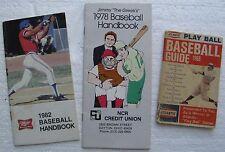"(3) Old Baseball Handbooks:""Atlantic Play Ball"", ""Jimmy The Greek"", ""Miller BB"""