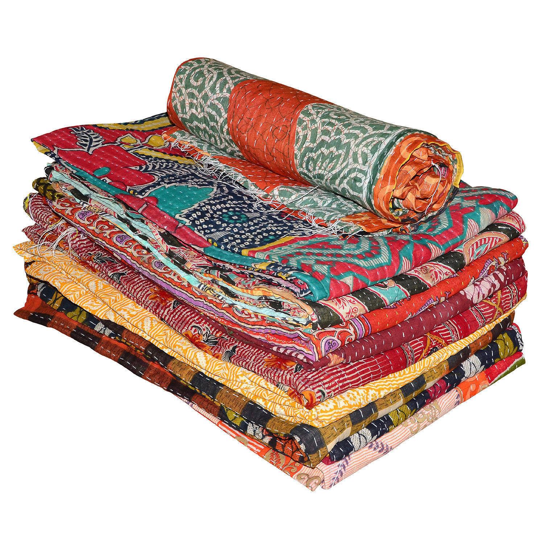 Kantha Quilt Cotton Indian Vintage Throw Bedspread Handmade Blanket Multi New