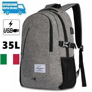 """Zaino Porta PC Zainetto Uomo da Viaggio per Computer Portatile Scuola 15.6"""" 35 L"""