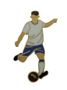 White & Royal Blue Football Player Gold Plated Pin Badge
