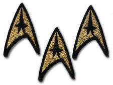"STAR TREK - Set of THREE x Classic Gold Command Crew Insignia Patches...1.75"""
