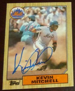 Kevin Mitchell Signed Mets 1987 Topps Baseball Card Autograph Auto'd #653 Giants