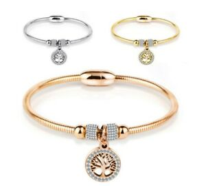 Stainless-Steel-Bracelet-Mesh-Bangle-Tree-of-Life-Silver-Rose-Gold-Cuff