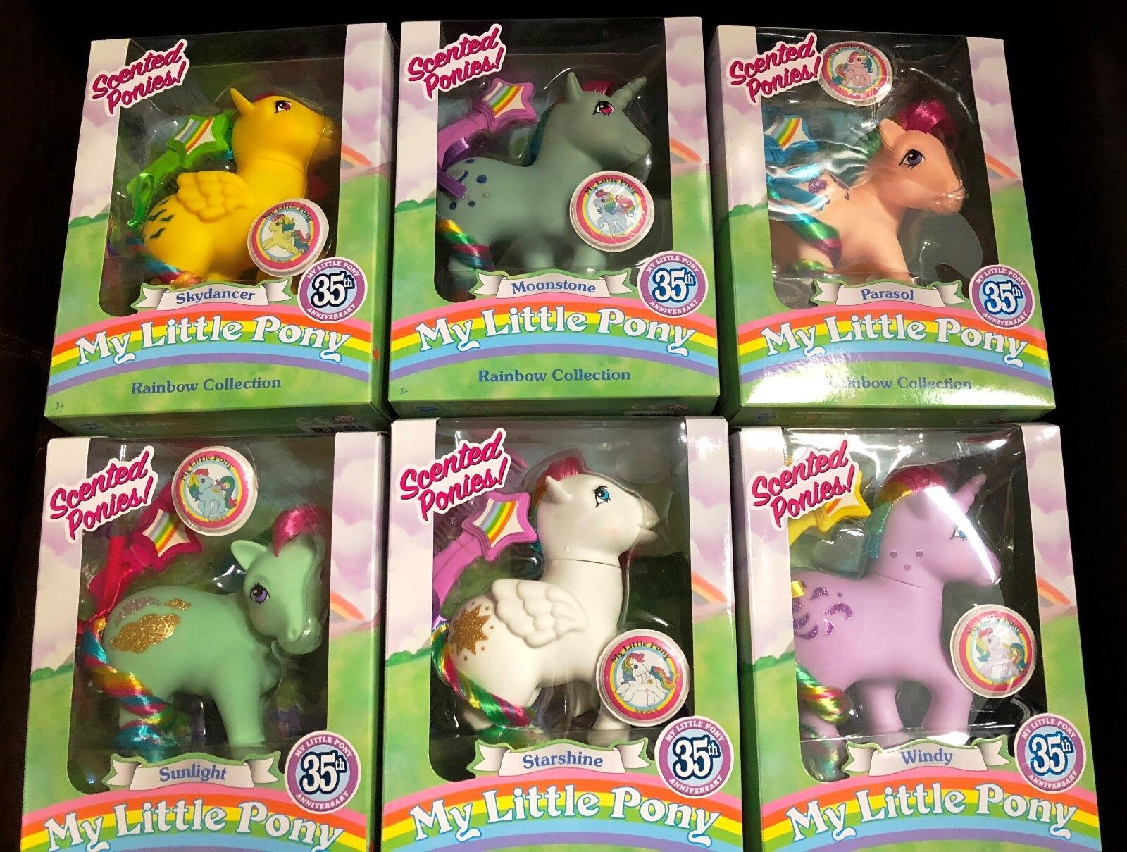 My LITTLE Pony 35th Anniversary Set of 6 RAINBOW COLLECTION SCENTED PONIES NEW
