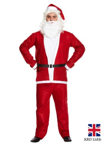Adult SANTA SUIT Father Christmas Mens Fancy Dress Costume Deluxe Xmas Outfit UK