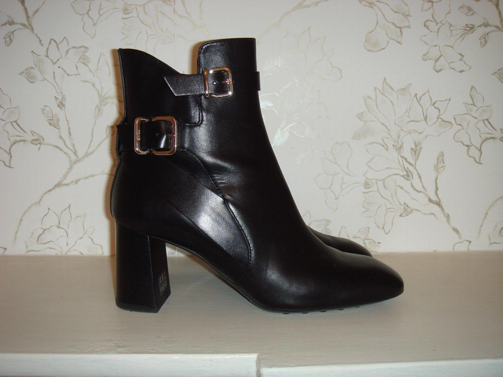 Nouveau TOD'S Femme Bottines en cuir noir taille 37 Made in