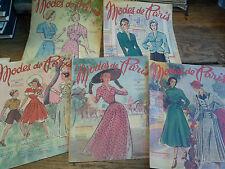 Lot de 5 revues  Modes de Paris année 1949 n° 127, 130 139, 141, 143, 144