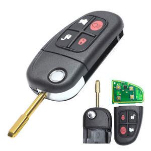 Black Keyless Entry Remote Key Fob Flip Uncut Fit For Jaguar X-Type S-Type Xj8 2001 2002 2003 2004 2005 2006 2007 2008