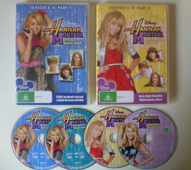 HANNAH MONTANA SEASON 3 dvd REGION 4 miley cyrus RARE disney COMPLETE THIRD