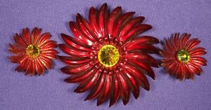 Vintage-Large-Red-Flower-w-yellow-stones-Metal-Brooch-Pin-amp-Clip-Earring-set