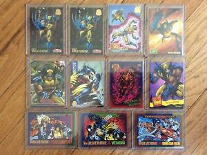 LOT-OF-11-VINTAGE-MARVEL-WOLVERINE-TRADING-CARDS-1993-95-FLEER-SKYBOX