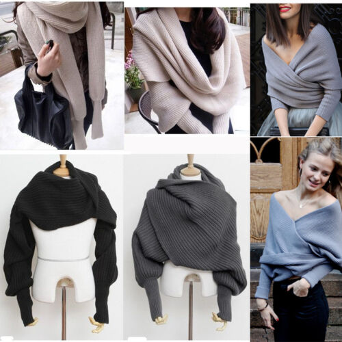 Women Winter Warm Knit Sweater Tops Wool Scarf With Sleeve Wrap Shawl Scarves