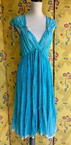Authentic 1970's vintage ADINI turquoise gauze dre