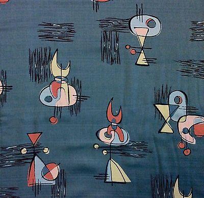 Atomic Retro Barkcloth Boomerang Sputnik MCM Mid Century Mod Cotton Fabric NT43
